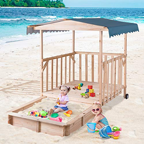 Costzon Kids Retractable Playhouse w/ Sandbox Canopy, Non-Woven Fabric Cloth, Wood Frame Play Area, Two Wheels, Children Outdoor Beach Cabana Sandbox for Outdoor, Lawn, Courtyard (52-Inch, Aquamarine) by Costzon (Image #1)