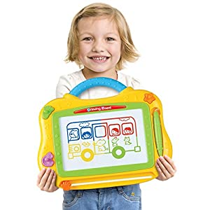 Magnetic Drawing Board for Kids By Gecko Toys, Etch a Sketch Board with 4 Color Display. Learning and Creative Toys for 3+ Years oddlers