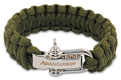 Braid Green Bracelet - RANGERBOY Cobra Braid Paracord Survival Bracelet, with Stainless Steel Shackle Adjustable Size Fits 7