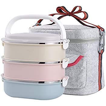 Stainless Steel Leakproof Lunch Box with Lock Container and Insulated Lunch Bag for Adult and Office (3-Tier)