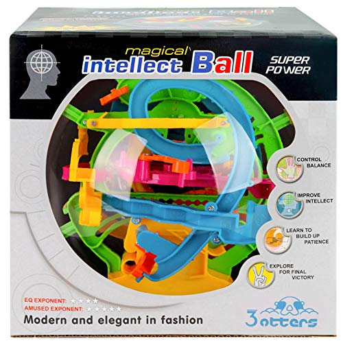 3 otters 3D Puzzle Ball, 138 Obstacles Maze Ball Interactive Maze Game with Education Toy Sphere Game Ball.