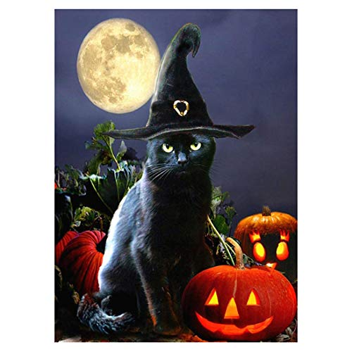 Halloween Cat-5D Diamond Painting Needlework Mosaic DIY Cross Stitch Kit Embroidery for Bedroom Decor Gifts(Full -