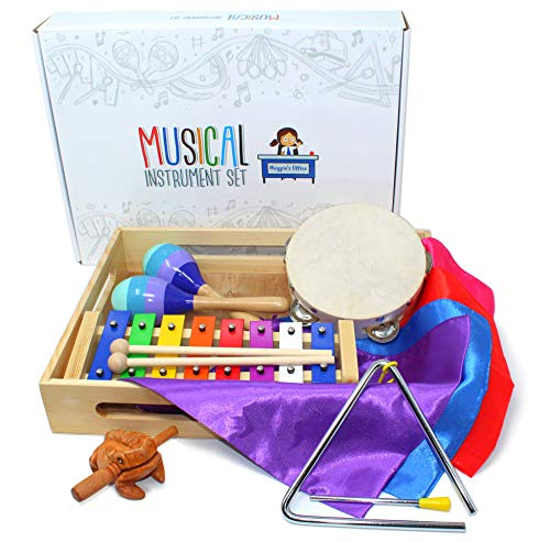 Magpie's Office Children's Wooden Musical Instrument Set - in Tune Glockenspiel (Xylophone), Maracas, Tambourine, Sheet Music, Dance Scarves, Frog Guiro Tone Block and More - Learn to Play Music]()