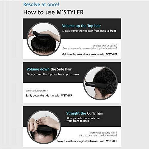 ixaer Men Quick Hair Beard Straightener, Electric Hair Style Comb for Men, Hair Curlers Hair Straightener with Gift Box 110V