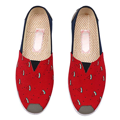 Womens Casual Fabric Flat Shoes Antiskid Elastic Cap-Toe Ethnic Style Canvas 3 Red Pa5b3d0sta