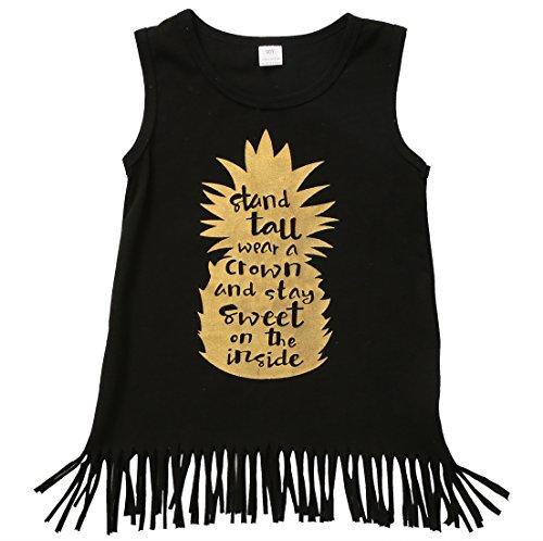 Toddler Baby Girls Summer Sleeveless Tassel Fringe Hem Pineapple Dress (4-5 Years, Black) Fringe Hem Dress