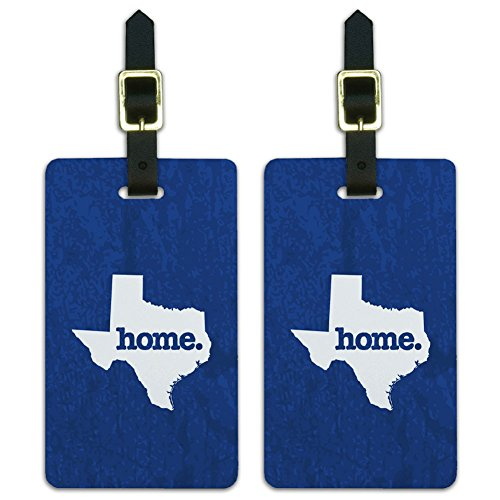 (Texas TX Home State Luggage Suitcase ID Tags Set of 2 - Textured Navy Blue)