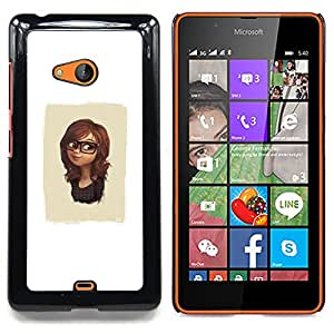 - Cute Glasses Girl/ Hard Snap On Cell Phone Case Cover - Cao - For Microsoft Nokia Lumia 540 N540
