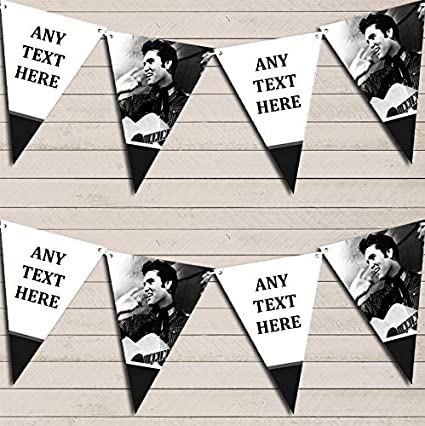 Elvis Presley White & Black Birthday Bunting Garland Party Venue Decoration Party Flag Banner Garland The Card Zoo
