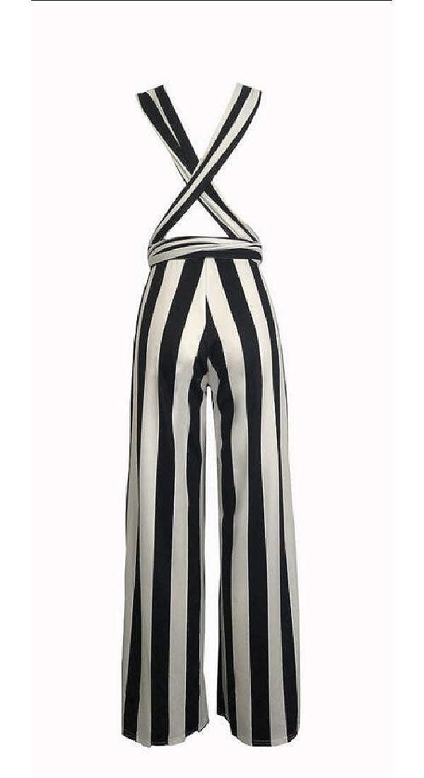 WSPLYSPJY Womens Striped Halter High Waist Wide Leg Jumpsuit with Belt