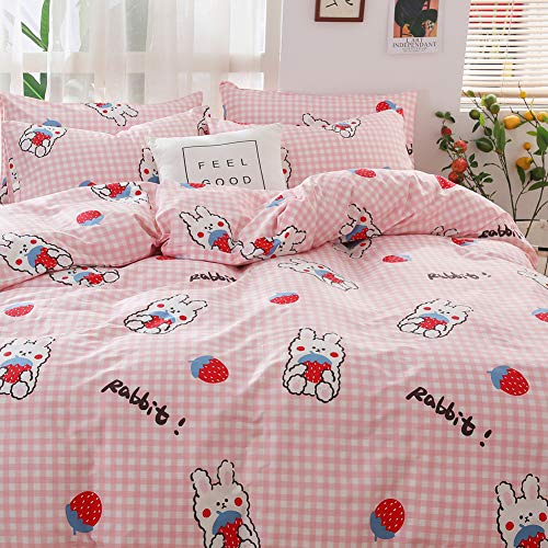 BlueBlue Strawberry Kids Duvet Cover Set Twin, 100% Cotton Bedding for Boys Girls Teens Single Bed, Cartoon Strawberry Rabbit Pattern Print on Pink Plaid, 1 Comforter Cover 2 Pillowcase (Twin, Rabbit)
