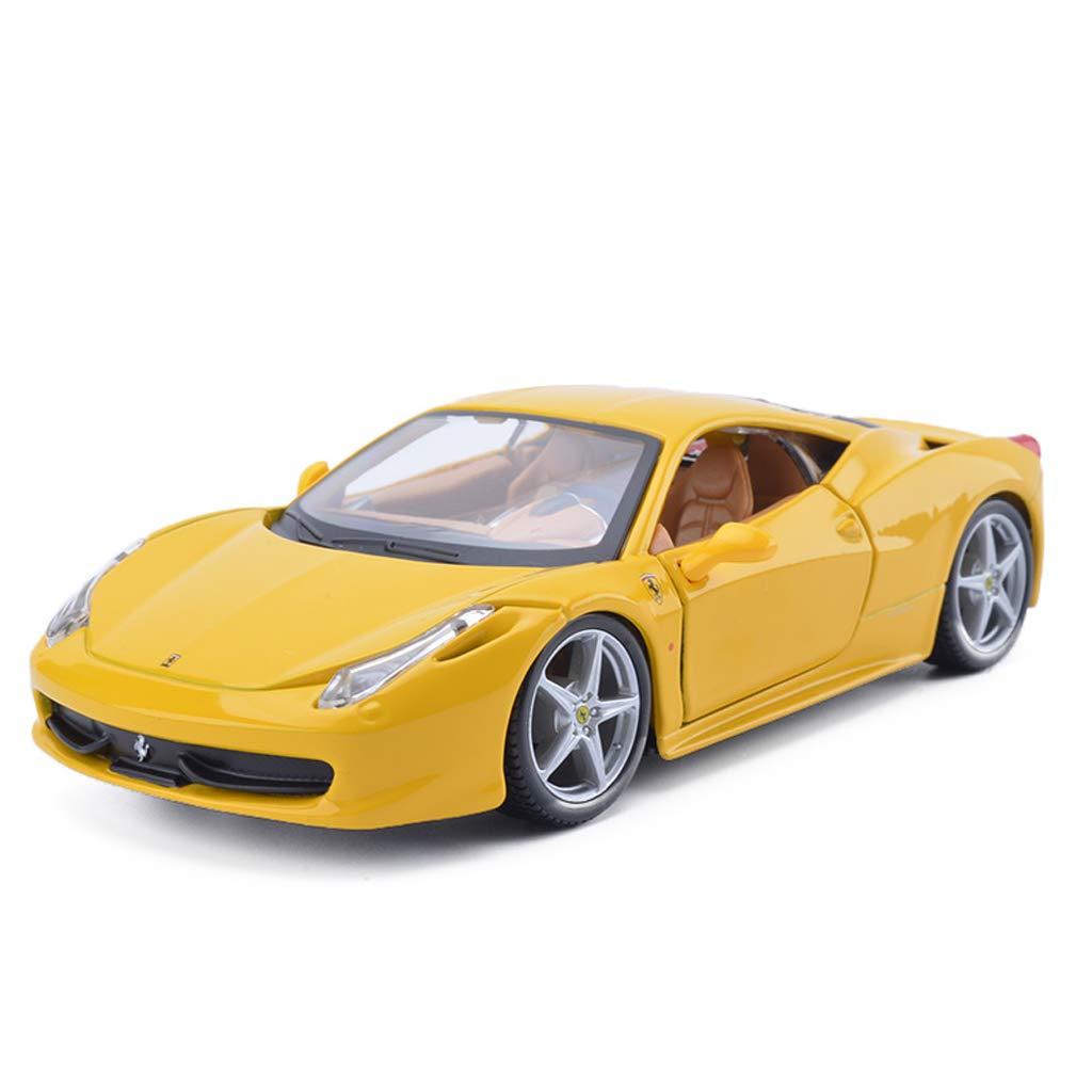 SXET-Auto modello Modello di Auto Giocattolo Modello di Auto 1 24 Ferrari-458 Auto Sportiva in Lega Modello di Auto Decorazione Modello di Raccolta Regalo (colore   Giallo)