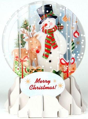 Christmas Greeting Card Pop-up 3-d Snow Globe Holiday Snowman