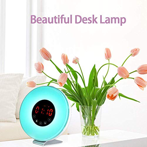 wlooo Wake Up Light, Luces-despertador, Bluetooth altavoz Sunrise Simulación Luces despertar, luz de despertador, la naturaleza suena FM Radio, 7 ...