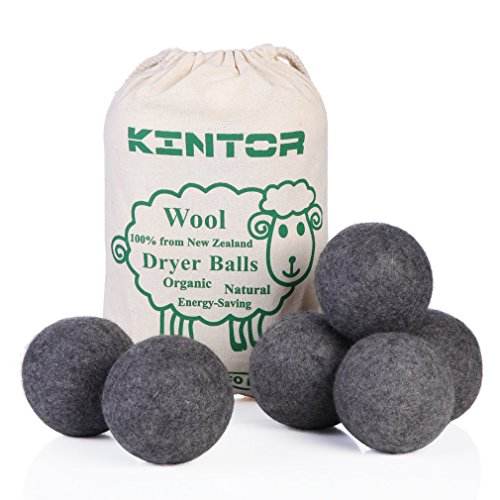 Wool Dryer Balls Dark Grey 6 Pack XL, 100% Organic Premium New Zealand Wool, 2.95 Diameter Reusable Natural Fabric Softener Alternative, Reduce Wrink…