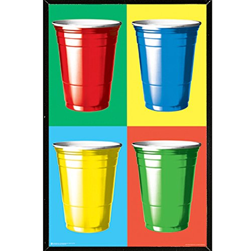 Party Cup Colors (24x36) Poster with Black Hardboard Frame