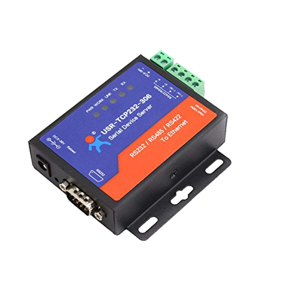 USR-TCP232-306 Serial to Ethernet Device Serial RS232/RS485/RS422 to Ethernet TCP/IP Server with DHCP