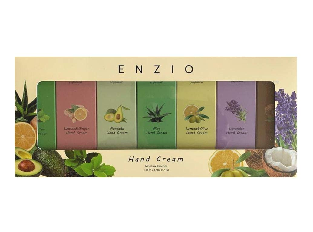 Enzio Professional Grade Shea Butter Based Hand Cream Lotion Gift Set (7 Variety) (Each Tube Content 1.4oz/42ml) (Free of Parabens, Benzophenone, Talc, and Color Additives) by ENZIO
