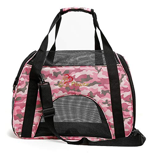 Pawer Soft-Sided Pet Carrier for Cat and Small Dog,Pink Camouflage Pattern,Medium Size,Washable Cloth Airline Approved Travel Tote,with 2 Mesh Opens and a Strap for Carry,Multiple Colors Available