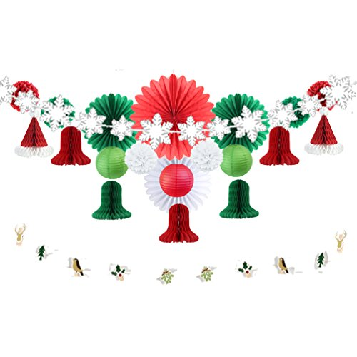 Christmas Party Decorations Kit Paper Wheel Fans Snowflake Ornaments Bell Santa Hat Honeycomb Balls Birthday Wedding Christening Baby Shower Xmas Decorations SUNBEAUTY 22 Pieces (Red White - Snowflake Ornaments Paper