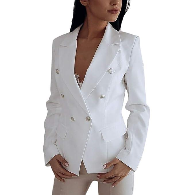 HOOPERT Mujeres Blazer Elegante Oficina Traje de Chaqueta Outwear ...