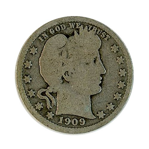 1909 P Silver Barber Quarter 25C Good (1909 Barber Quarter)