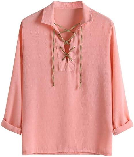Wodechenshan Camisas Casual para Hombre,Los Hombres De Color Rosa Camisetas Manga Larga Blusa Holgada Mezcla De Algodón Color Sólido Revés Collar Camiseta Streetwear Vendaje: Amazon.es: Deportes y aire libre