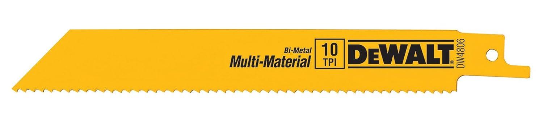 DEWALT DW4806 6-Inch 10 TPI Straight Back Bi-Metal Reciprocating Saw Blade (5-Pack)