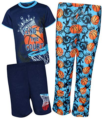Quad Seven Boys 3-Piece Pajama Set - Shorts, Long Pants, and Graphic T-Shirt, Navy Basketball, Size 8/10'