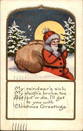 My Reindeer's Sick, My Sleigh's Broke too, But Live or Die, I'll get to You Original Vintage Postcard