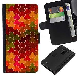 LG G3 D855 D850 D851 , la tarjeta de Crédito Slots PU Funda de cuero Monedero caso cubierta de piel ( Tiles Pattern Purple Camouflage Yellow Green)