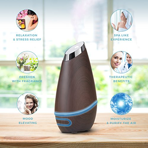 SmartMist Aromatherapy Essential Oil Diffuser Modern Wood Finish, Auto Shut off, LED Lights, 3 Mist Settings for Aroma Ultrasonic Cool Air Purifier Humidifier for Room