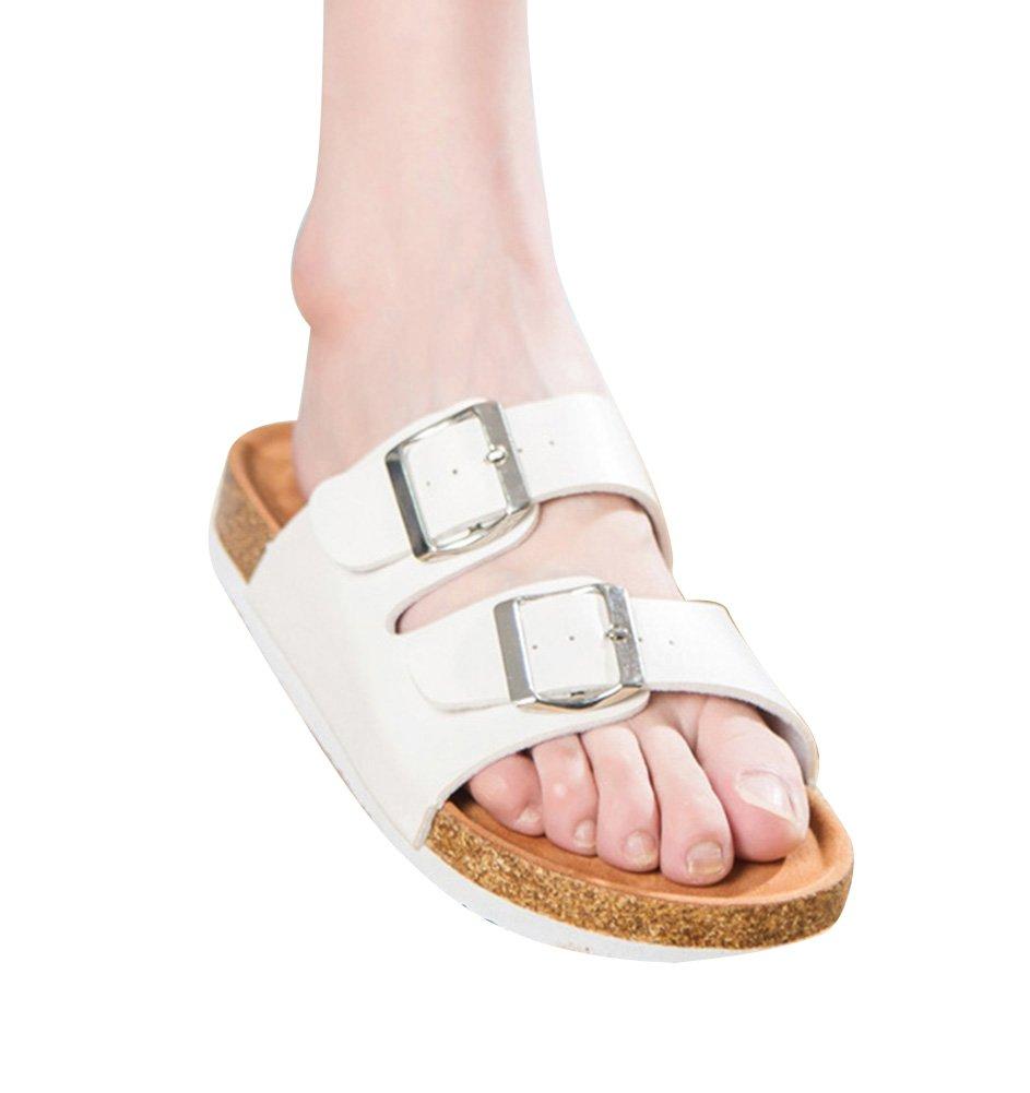 Unisexe Blanc Adulte Liège Sandales pour Femme 19917 et de Homme, Boucles Réglables Chaussures de Plage Pantoufles de Plage Blanc ecd841c - latesttechnology.space