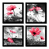 HLJ ART Modern Salon Theme Black and White Peacock Blue Vase Flower Abstract Painting Still Life Canvas Wall Art for Home Decor 12x12inches 4pcs/Set (Red, 16x16inchx4pcs)