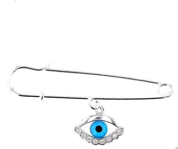 Evil Eye Charm with Silver Safety Pin to Hook DiamondJewelryNY Evil Eye