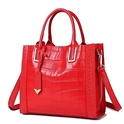 JVPS 41-B bolso de hombro de cuero genuino negro piezas de gran capacidad bolsa de trabajo bolsa de hombro bolsa de hombro bolso diagonal bolsa a prueba de agua Roja