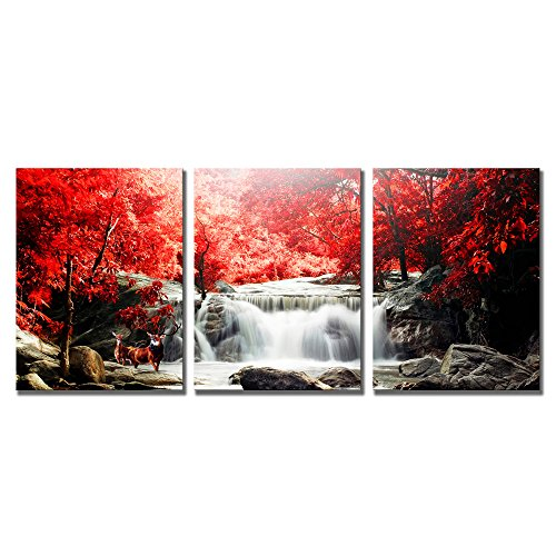 ModeArt Waterfall Wall Art Artwork Oil Painting For Living Room Modern Deer Playing Under The Red Woods Canvas Printed Paintings for Home Wall Decorations …