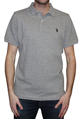 U.S. Polo Assn. Men's Solid Polo With Small Pony, Heather Grey/Black, Medium by U.S. Polo Assn.