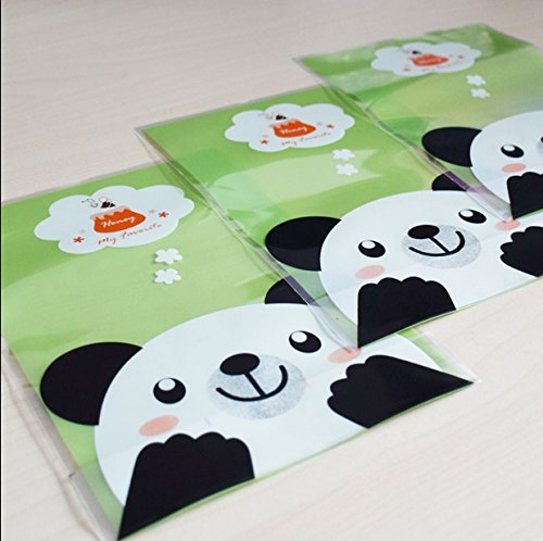 Rent A Panda Costume (Saasiiyo Plastic bags of green, black and white panda flat pockets smooth silky pocket cookies 100pcs cake bags candy bags)