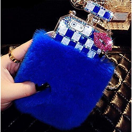 Galaxy S7 Edge Case,Fusicase Luxury Perfume Bottle Design Bling Rex Rabbit Fur Bling Diamond Hair Sleeve Plush Sales