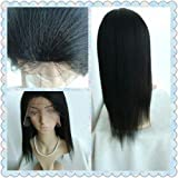 100% INDIAN REMY HUMAN HAIR 16 inch,color #1b,ITALIAN YAKI GLUELESS SILK TOP WIG,BLEACHED KNOTS--best hair for African
