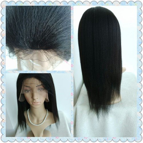 100% INDIAN REMY HUMAN HAIR 16 inch,color #1b,ITALIAN YAKI GLUELESS SILK TOP WIG,BLEACHED KNOTS--best hair for African by April silk top wigs