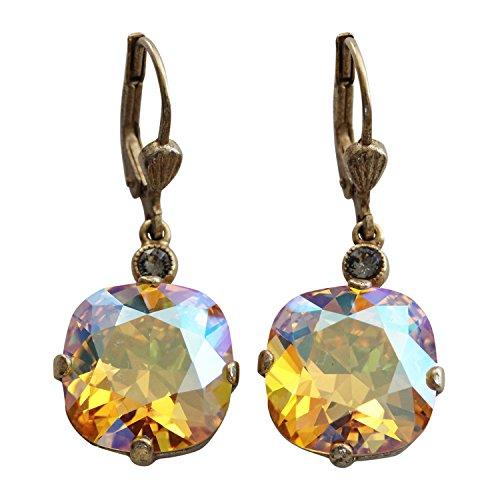 Catherine Popesco Goldtone Crystal Round Earrings, 6556G Warm Sunflower Yellow Iridescent