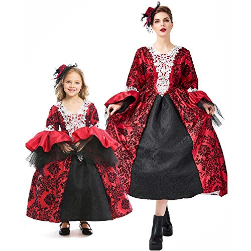 I-Youth Halloween Matching Mother Daughter Costumes Vampire Masquerade Costume Medieval Dress M Child Red]()