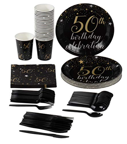 50th Birthday Party Supplies – Serves 24 – Includes Plastic Knives, Spoons, Forks, Paper Plates, Napkins, and Cups Perfect for Birthdays ()