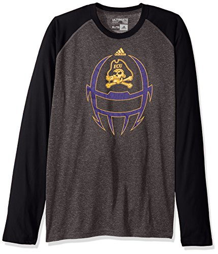 adidas NCAA East Carolina Pirates Adult Men White Noise Helmet Ultimate Raglan L/S Tee, Small, Dark Grey Heathered/Black