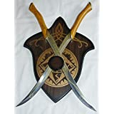 "22.5"" Fantasy Fighting Swords with Plaque"