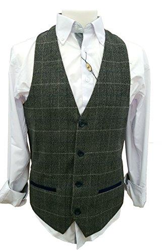 Uomo Marc Darcy Tweed Herringbone Controllo Intelligente scollo a V Panciotto - Scott Grigio