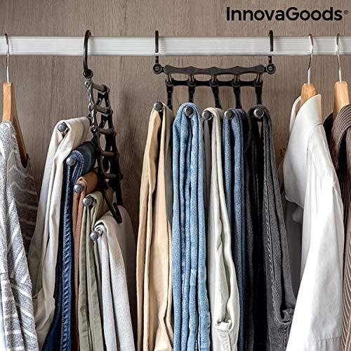 InnovaGoods Percha M/últiple para Pantalones 5 en 1 Hanglite 47 x 18 x 6 cm Negro
