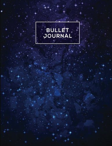 Bullet journal quarterly planner with blank yearly & monthly calendar, and habit tracker, 120 dot grid & 15 lined pages, 8.5x11in, midnight star ... large diary journal to write in everyday life